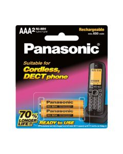 Panasonic NI-MH 2AAA PACK Rechargeable Batteries For cordless DECT phones (BK-4LDAW/2BT)
