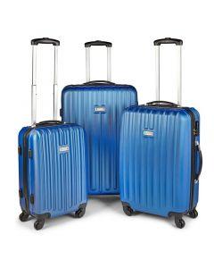 Milano Deluxe 3pc ABS Luggage Suitcase Luxury Hard Case Shockproof Travel Set - Blue