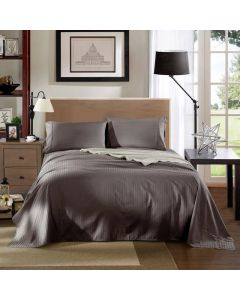 Kensington Luxury 1200TC 100% Cotton 3 Piece Sheet Set in Charcoal Stripe - Single Bed