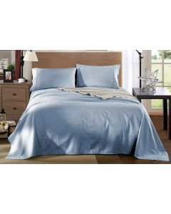 Kensington Luxury 1200TC 100% Cotton 4 Piece Sheet Set in Chambray Stripe - King Bed