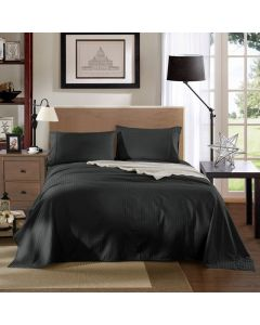 Kensington Luxury 1200TC 100% Cotton 4 Piece Sheet Set in Graphite Stripe - Mega Queen Bed