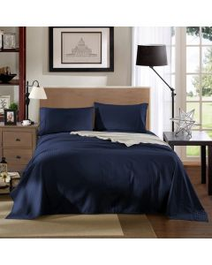 Kensington Luxury 1200TC 100% Cotton 4 Piece Sheet Set in Navy Stripe - Mega Queen Bed