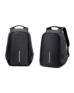 Milano Anti Theft Backpack Waterproof School Bag Travel Laptop Bag with USB Charging - Black