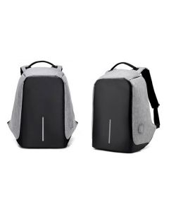 Milano Anti Theft Backpack Waterproof School Bag Travel Laptop Bag with USB Charging - Grey